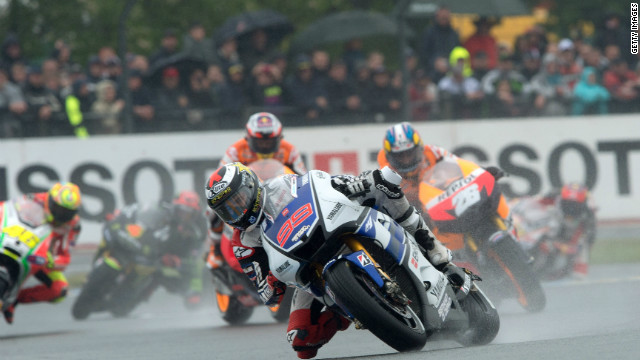 Jorge Lorenzo and second-place Valentine Rossi thrived in the wet conditions at Le Mans