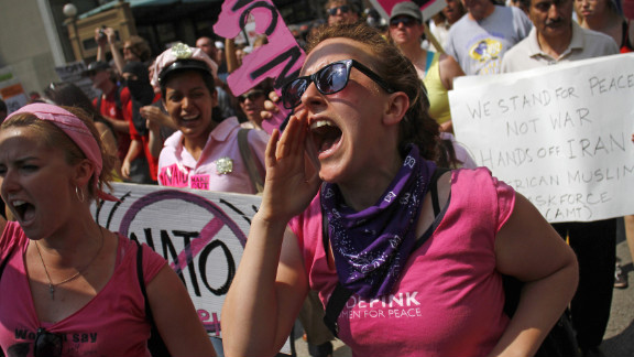 Members of the anti-war group Code Pink demonstrate in Chicago on Sunday.