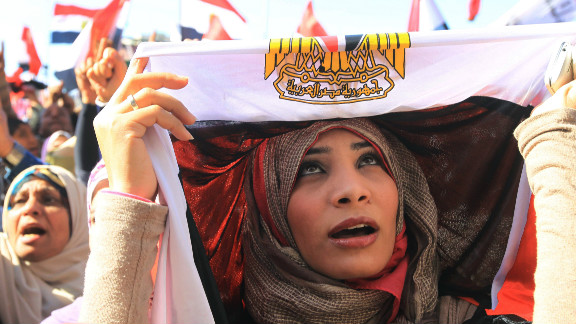 An Egyptian women demonstrates in Cairo