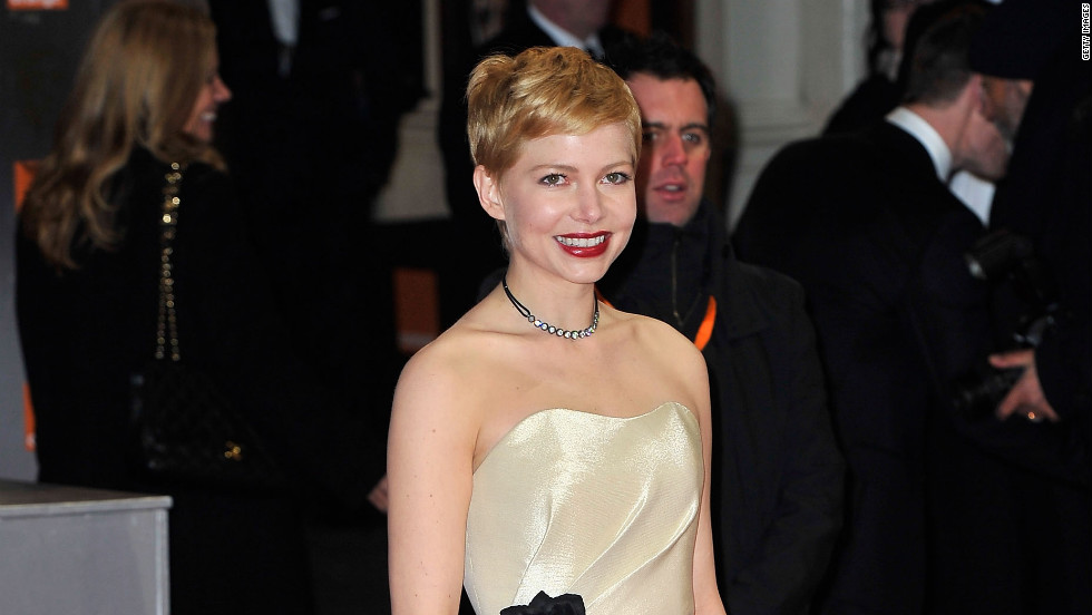 Oscar-nominated and Golden Globe winning actress, Michelle Williams wears a evening dress from the Conscious Collection by H&M to the 2011 BAFTA Awards in London.