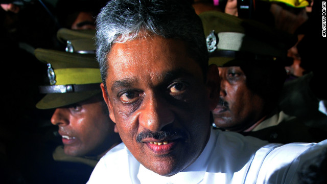 Sri Lanka's ex-army chief Sarath Fonseka leaves a private hospital in Colombo, ahead of being freed from prison.