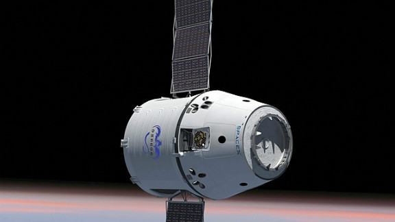 This rendering of the Dragon capsule shows the craft