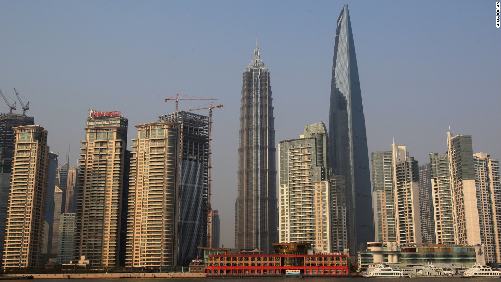 Completed in 2008, Shanghai World Financial Center has an architectural height of 1,614 feet (492 meters) and is occupied to a height of 1,555 feet (474 meters).