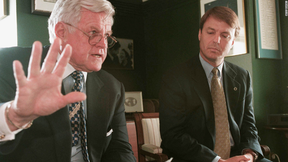 Sen. Edward Kennedy of Massachusetts and Edwards at a news briefing in Kennedy's office in 2001.