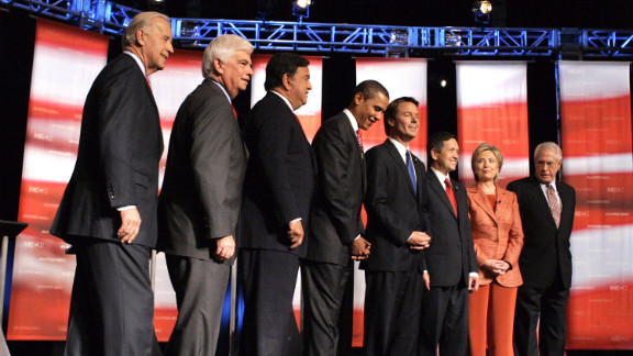 In September 2007, Edwards attends a Democratic presidential debate in Hanover, New Hampshire.