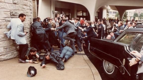 John Hinckley Jr. shot President Reagan, Jim Brady and two others outside the Washington Hilton Hotel in 1981.
