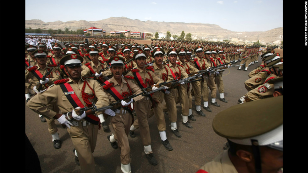 Yemeni police cadets march Tuesday during a military parade in Sanaa  marking the 22nd anniversary of Yemen's 1990 reunification.