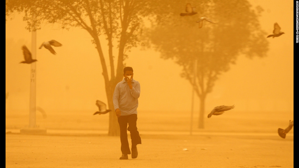 Birds fly past a man walking in Kuwait City during a heavy dust storm Tuesday.