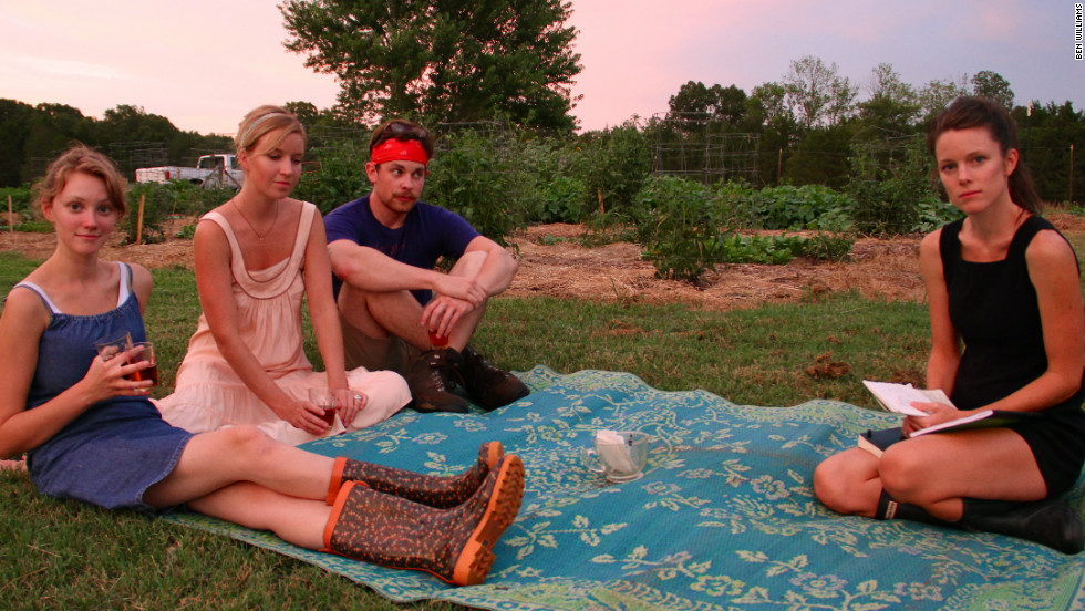 Stars of 'The Garden Summer' -- Marie Barker, Emilee Clearly, Seth Amos and Hailey Wist -- pose as fellow castmate Ben Williams snaps a photo.