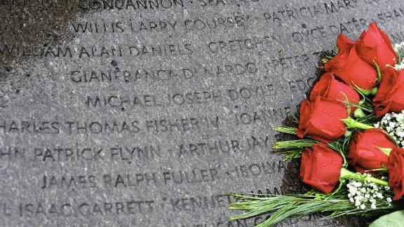 Roses adorn the Lockerbie memorial at Arlington National Cemetery in the U.S.