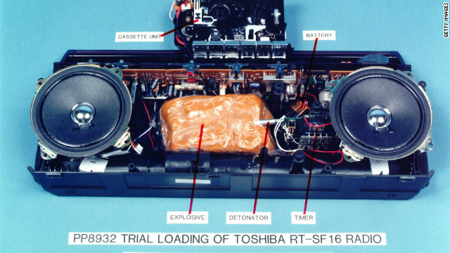 A mockup of the explosives-loaded Toshiba cassette recorder which blew up Pan Am Flight 103 over Lockerbie, Scotland, in 1988 is on display on January 31, 2001