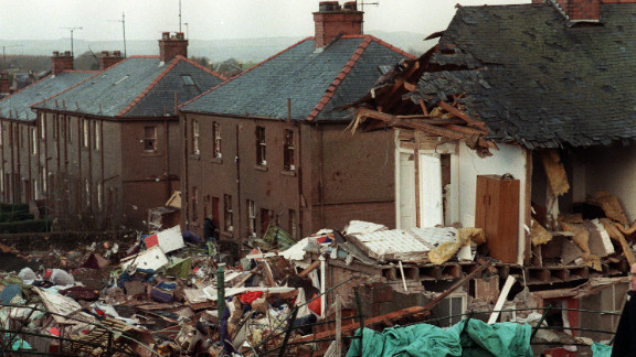 Wreckage of the downed aircraft hit houses in the Scottish town of Lockerbie.