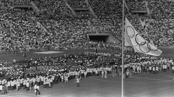 A memorial service is held during the 1972 Munich Olympics for the Israeli athletes and coaches killed by Palestinian terrorists.