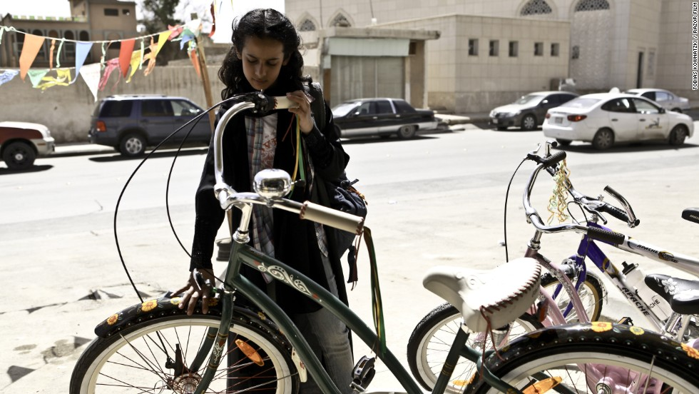A still from the film Wadjda, about an 11-year-old girl who dreams of owning a green bicycle.