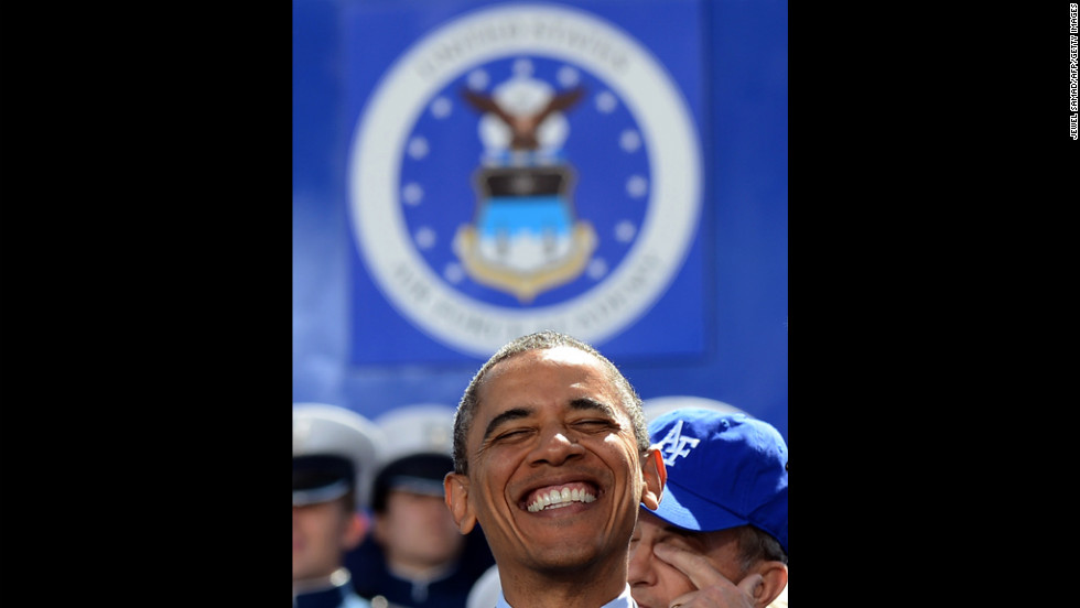President Barack Obama smiles before delivering the commencement address Wednesday at the U.S. Air Force Academy in Colorado Springs, Colorado.