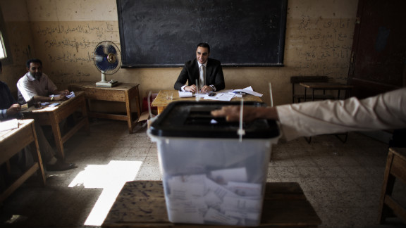 Electoral officials monitor voting in Namul, a village north of Cairo, on Thursday, May 24, the second and final day of voting in Egypt