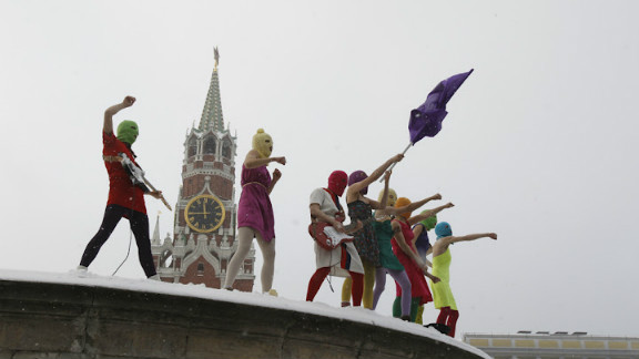 Three members of the Russian punk protest band Pussy Riot await trial.