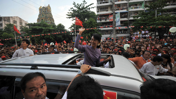 Myanmar opposition leader Aung San Suu Kyi at the opening of a National League for Democracy office in Yangon Monday