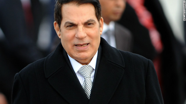 A photo taken on December 13, 2010 shows Tunisia's ousted president Zine el Abidine Ben Ali at Tunis-Carthage airport in Tunis.