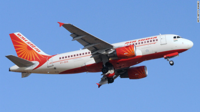 An Air India plane takes off from Sardar Vallabhbhai International Airport in Ahmedabad, India.