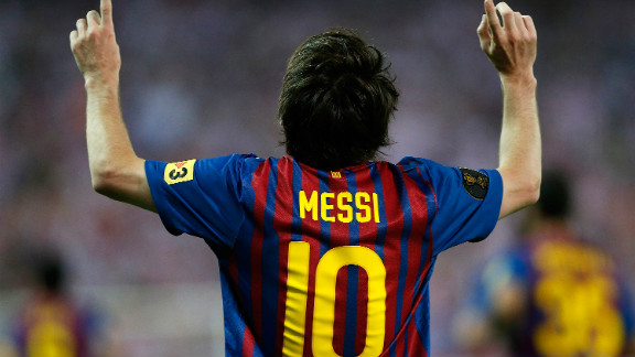 Lionel Messi celebrates his 73rd goal of the season by Barcelona as they beat  Athletic Bilboa 3-0 in the Copa del Rey final