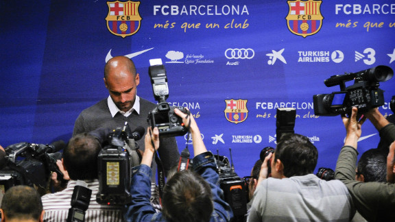 """But for months there had been rumors that the demands of the job and those he placed on himself were wearing Guardiola down. After Barcelona had relinquished both their league and Champions League titles, he confirmed he was standing down. """"The reason is simple: four years is enough,"""" he said. """"I"""