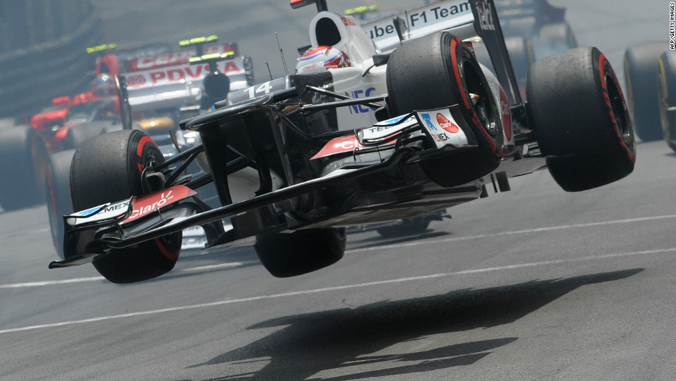 Kamui Kobayashi of the Sauber team goes airborne in spectacular fashion at the Monaco Grand Prix.