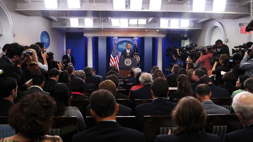 President Barack Obama holds a news conference in the James S. Brady Press Briefing Room at the White House. Built in 1970 during the Nixon administration, the briefing room replaced a swimming pool that was installed for President Franklin D. Roosevelt in 1934.