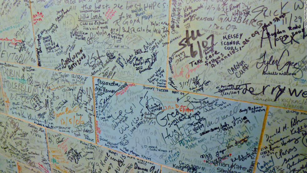 The walls are now lined with signatures of White House staff, journalists and celebrities who have visited.