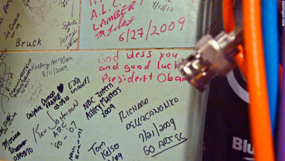 "Looking past some video cables, someone wrote, ""God bless you and good luck President Obama."""