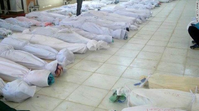 This photo from Syrian opposition's Shaam News Network shows bodies lying at a morgue in Houla on May 26.