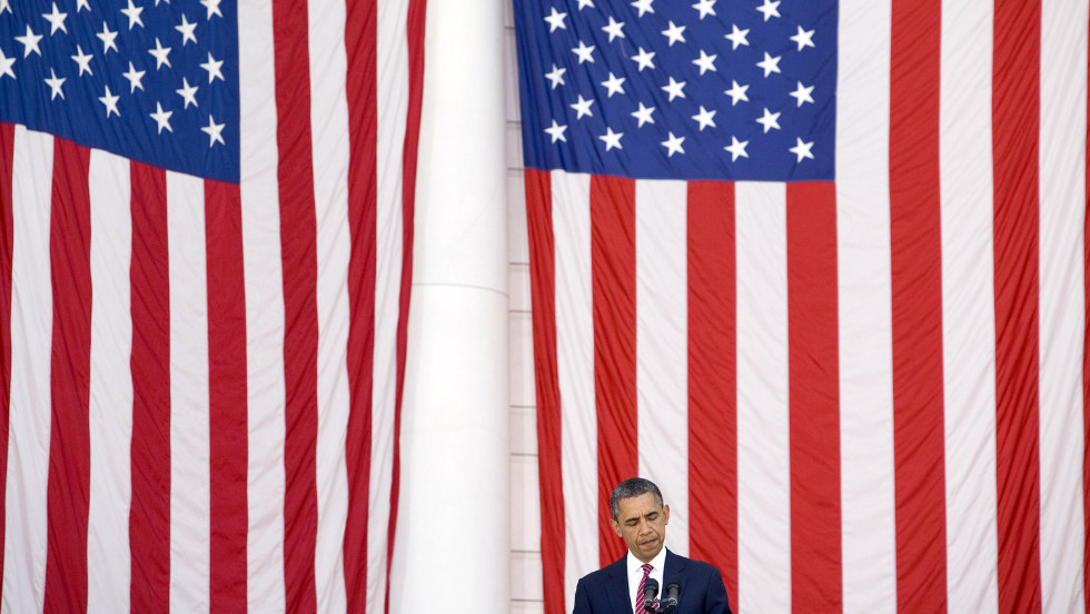 President Barack Obama speaks during a Memorial Day ceremony at Arlington National Cemetery on Monday.