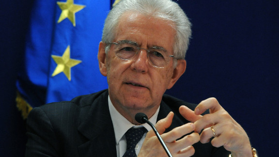 Italian Prime Minister Mario Monti speaks during a press conference after a meeting of European Union leaders in Brussels, May 24, 2012.