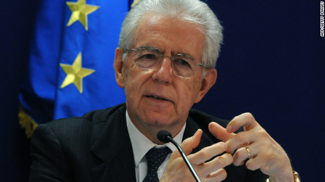 Italian Prime Minister Mario Monti speaks during a press conference after a meeting of European Union leaders in Brussels early May 24 2012.