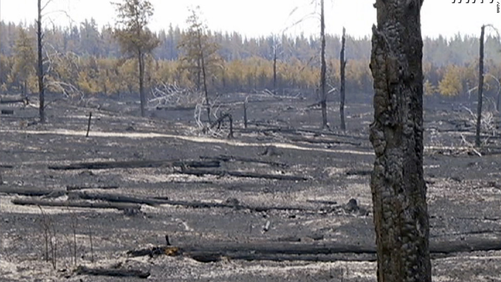 Woodland in the path of the Duck Lake wildfire in Michigan lies charred inthe wake of the weekend's blaze.  The Michigan Department of Natural resources says that high temperatures, winds, and low humidity have caused another flare-up.