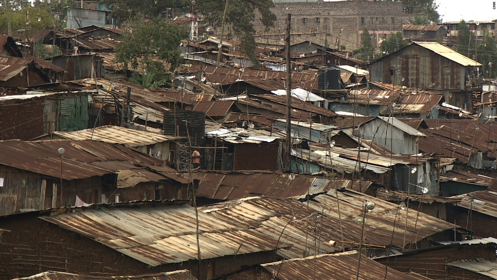 The roofs of homes in Kibera. The ramshackle houses in the settlement are built from a combination of wood, mud and concrete.