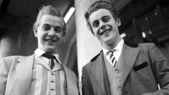 """In 1952 """"Teddy Boys"""" were just starting to appear -- these guys were snapped in London in 1955."""
