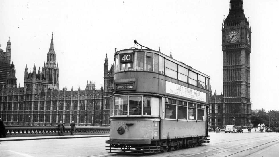 One of the last trams to run in central London pictured crossing Westminster Bridge in 1952.