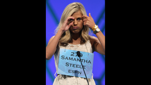 Samantha Steele thinks hard about her word during the second round.