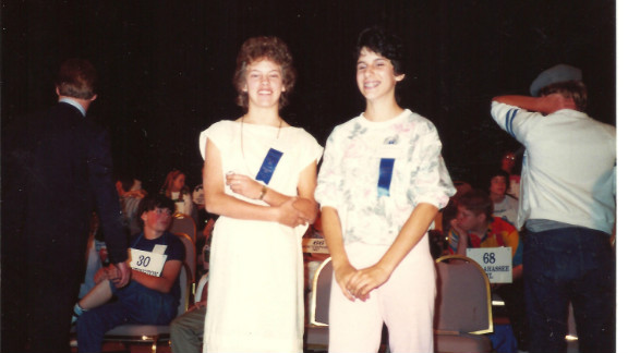 Karla Miller and Kat Kinsman at the National Spelling Bee in 1986.