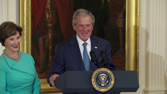 Bushes' humorous return to White House