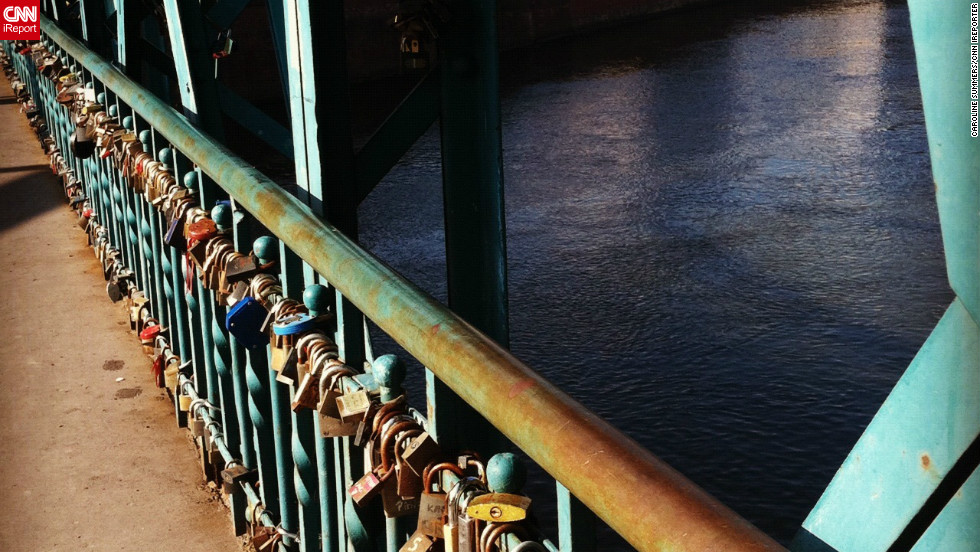 American student Caroline Summers took this image of the padlocks which have come to adorn Tumski Bridge in Wroclaw. Young romantics write their names on the locks before fastening them to the bridge and throwing the keys into the river as a sign of their enduring love.