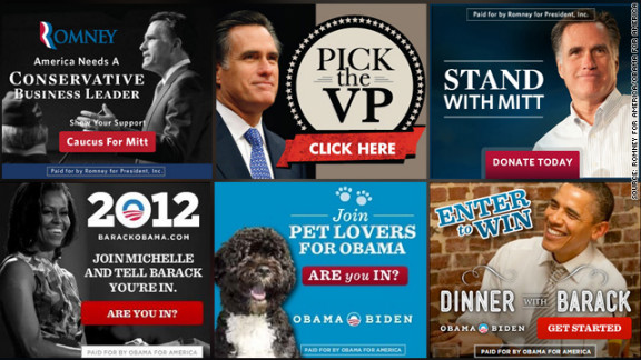 """Both campaigns have spent millions on Internet ads. Mitt Romney's tend to feature images of the candidate with messages like """"Ready to Lead,"""" while President Obama's stand in stark contrast with images of the first lady, the first family or even their dog, Bo."""