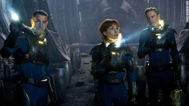 "Logan Marshall-Green (left), Noomi Rapace and Michael Fassbender star in ""Prometheus."""