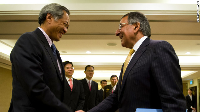 U.S. Defense Secretary Leon Panetta, right, shakes hands Saturday with Singapore Defense Minister Ng Eng Hen in Singapore.