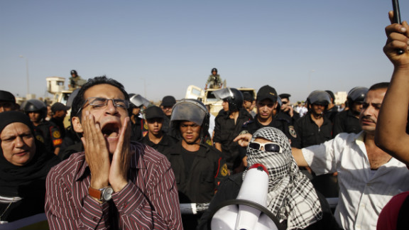 Protesters in Cairo await the verdict in Mubarak