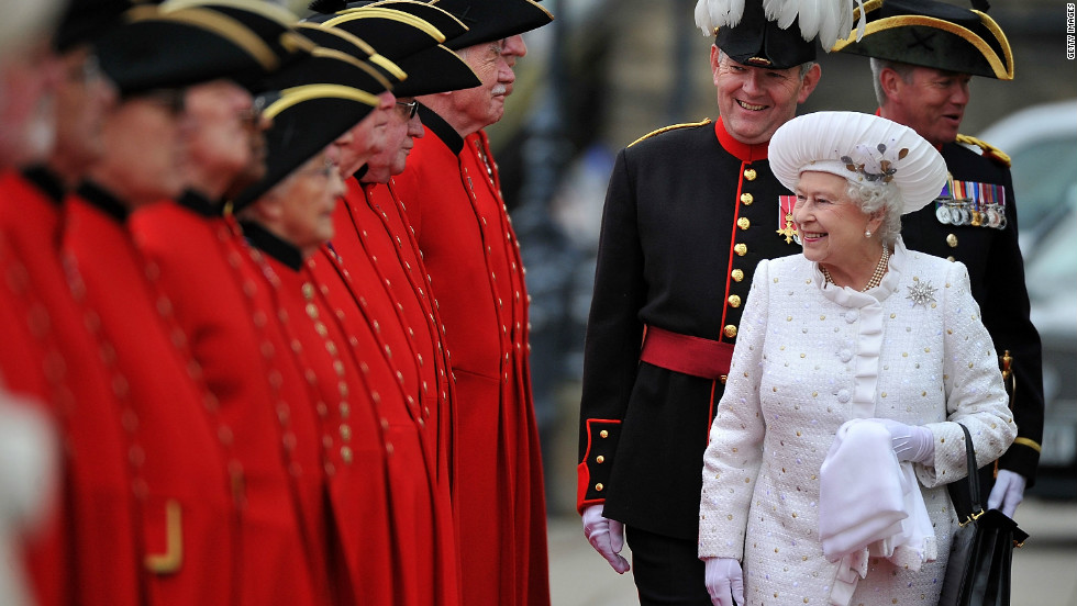 Queen Elizabeth II is greeted by Chelsea pensioners at Chelsea Pier ahead of the Thames River Pageant. This is the second time in British history a monarch has reached a diamond jubilee milestone.