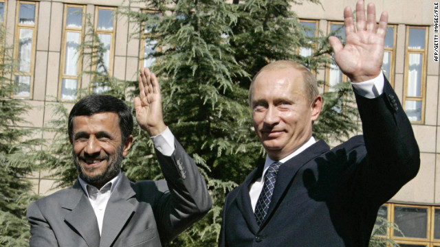 Iranian President Mahmoud Ahmadinejad, left, and Russian President Vladimir Putin during a meeting in Tehran in 2007.