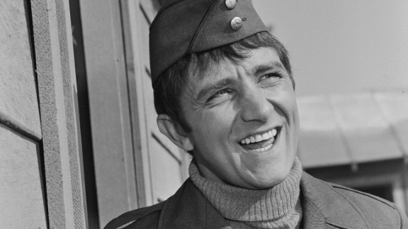 """Richard Dawson as Cpl. Peter Newkirk in the long-running CBS comedy television series """"Hogan's Heroes"""" in 1965."""
