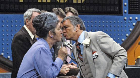 """Dawson was known for greeting female contestants with a kiss, as in this 1984 episode of """"Family Feud."""""""